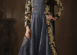 Comely Blue And Black Embroidered Georgette Floor Length Anarkali