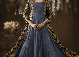 Nice Blue And Black Embroidered Georgette Anarkali Gown