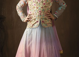 Artistic Multicolor Embroidered Net And Brocade Jacket Style Floral Anarkali