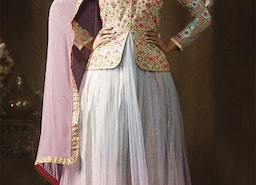 Irresistible Multicolor Embroidered Net And Brocade Jacket Style Floral Anarkali