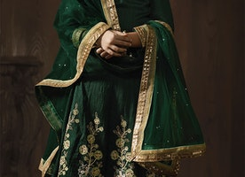Stunning Green Embroidered Silk Party Wear Anarkali