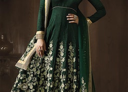 Fascinating And Heavenly Green Silk Embroidered Anarkali