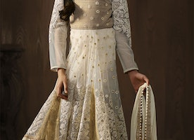Decent Cream Stone Work And Embroidered Net Indian Anarkali