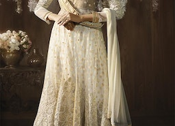 Alluring Cream Stone Work And Embroidered Net Long Anarkali