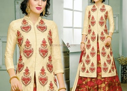 Delightful Beige Embroidered And Printed Silk Indo Western Attire