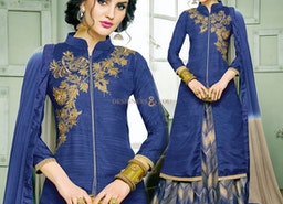 Ephemeral Blue Embroidered And Printed Silk Indo Western Ensemble