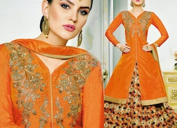 Charming Orange Embroidered And Printed Silk Indo Western Outfit