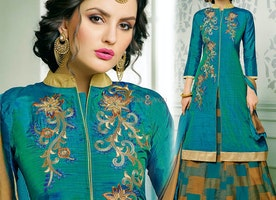 Gorgeous Blue Embroidered And Printed Silk Lehenga Suit