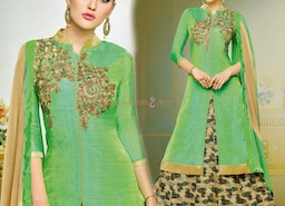 Beguiling Green Embroidered And Printed Silk Aline Lehenga Suit