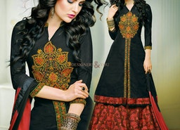 Lovely Black Embroidered And Printed Silk Aline Lehenga Dress