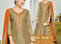Good Looking Beige Embroidered And Printed Silk Indo Western Suit