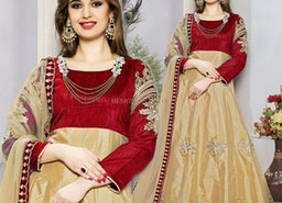 Exquisite Maroon And Beige Embroidered Art Silk Anarkali Style Outfit