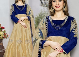 Artistic Blue And Beige Embroidered Art Silk Anarkali Salwar Kameez
