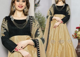 Stunning Black And Beige Embroidered Art Silk Anarkali Salwar Suit