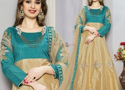 Irresistible Green And Beige Embroidered Art Silk Anarkali Dress Design