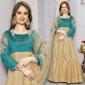 Irresistible Green And Beige Embroidered Art Silk Anarkali Dress Design