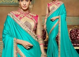 Ravishing Blue Embroidered Crepe Heroine Sari Modeled By Amrita Rao