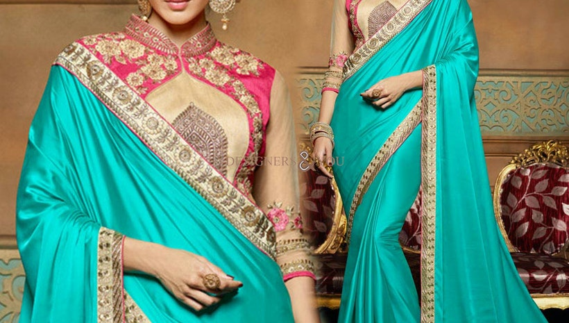 Ravishing Blue Embroidered Crepe Heroine Sari Modeled By Amrita Rao