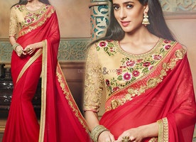 Charming Red Embroidered Chiffon Bollywood Amrita Rao Sari