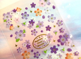 Sakura sticker purple sakura purple flower Cherry Blossom sticker Japan national flower fancy flower icon decoration label flower gift