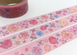 butterfly Rose washi tape 5M Pink tape red rose pretty flower deco sticker tape gardening flower masking tape princess pink wrapping tape