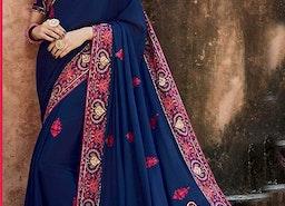 Pretty Blue Silk Top Blue Wedding Saree Online