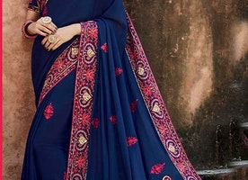 Pretty Blue Silk Top Blue Wedding Saree Online
