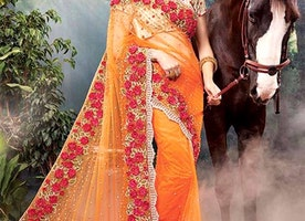 Exquisite Orange Heavy Worked Net Indian Wedding Saree