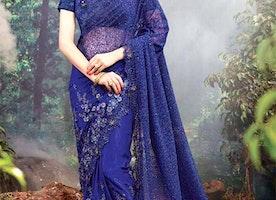 Aesthetic Blue Heavily Embellished Net Indian Wedding Sari