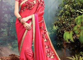 Smashing Red And Pink Heavily Embellished Net Designer Sari For Wedding