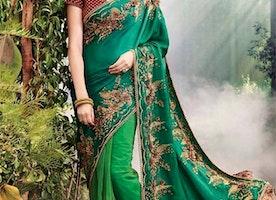 Nice Green Heavy Worked Net Wedding Saree Online