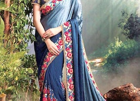 Comely Blue And Grey Heavily Embellished Net Wedding Sari Online