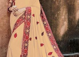 Elegant Beige Silk Blouse Beige Wedding Sari Online