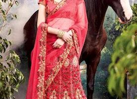 Magnetic Pink Heavy Worked Net Indian Bridal Lehenga