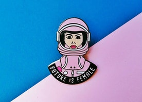 Woman's March Pin - Feminist pin - Future is Female - Astronaut - Female Empowerment - Fight the Patriarchy - Equality pin - Women's Rights