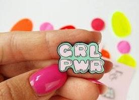 Pastel Girlpower Pin, Lapel Pin, Hard Enamel Pin, Cloisonne, Girl Gift, Flair