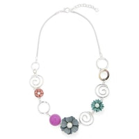 Flower and Hoops Necklace - Silver/Mult