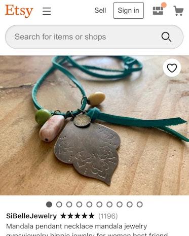 Ready to ship Mandala pendant necklace