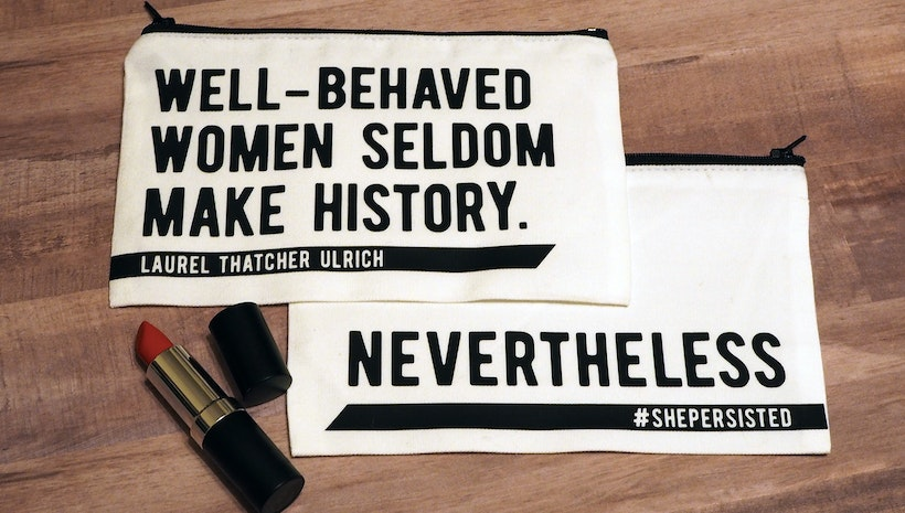 Feminist inspirational quote makeup bag, #ShePersisted