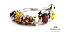 Sterling Silver Bracelet and Charms with Natural Baltic Amber