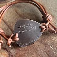 Personalized guitar pick bracelet