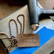 Brass dog tag coordinates necklace