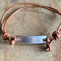 skinny bar leather adjustable bracelet