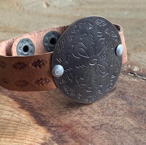 Leather snap cuff mandala bracelet
