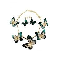 Golden Butterflies Necklace Set - Green