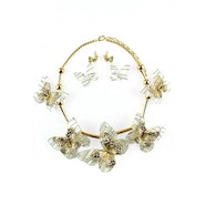 Golden Butterflies Necklace Set - White