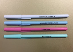 I Love Naps / Society of Staying In Pen Set in Pastel Pink, Blue, Green, and White