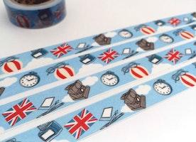 UK Travel planner washi tape 10M x 1.5cm United Kingdom Flag uk flag hot air balloon antique clock vintage camera retro glasses decor tape gift