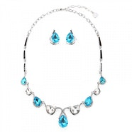 Teardrops Crystal Necklace Set - Silver/Blue
