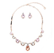 Teardrops Crystal Necklace Set - Rose Gold